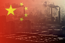 China pollution flag
